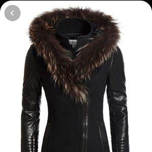 Leather& wool fur trimmed danier coat